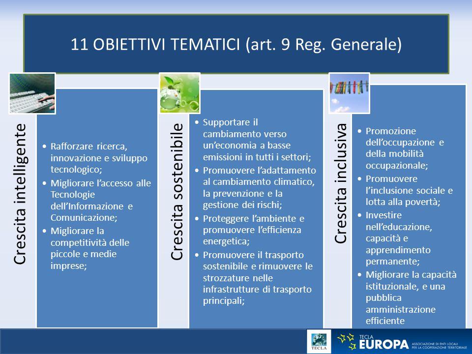 11 OBIETTIVI TEMATICI (art. 9 Reg. Generale) Crescita intelligente Rafforzare ricerca, innovazione e sviluppo tecnologico; Migliorare l'accesso alle T