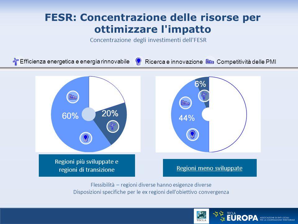 │ 19 Regioni meno sviluppate Regioni più sviluppate e regioni di transizione FESR: Concentrazione delle risorse per ottimizzare l'impatto Flessibilità