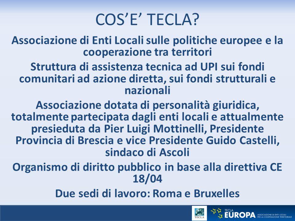 COS'E' TECLA? Associazione di Enti Locali sulle politiche europee e la cooperazione tra territori Struttura di assistenza tecnica ad UPI sui fondi com