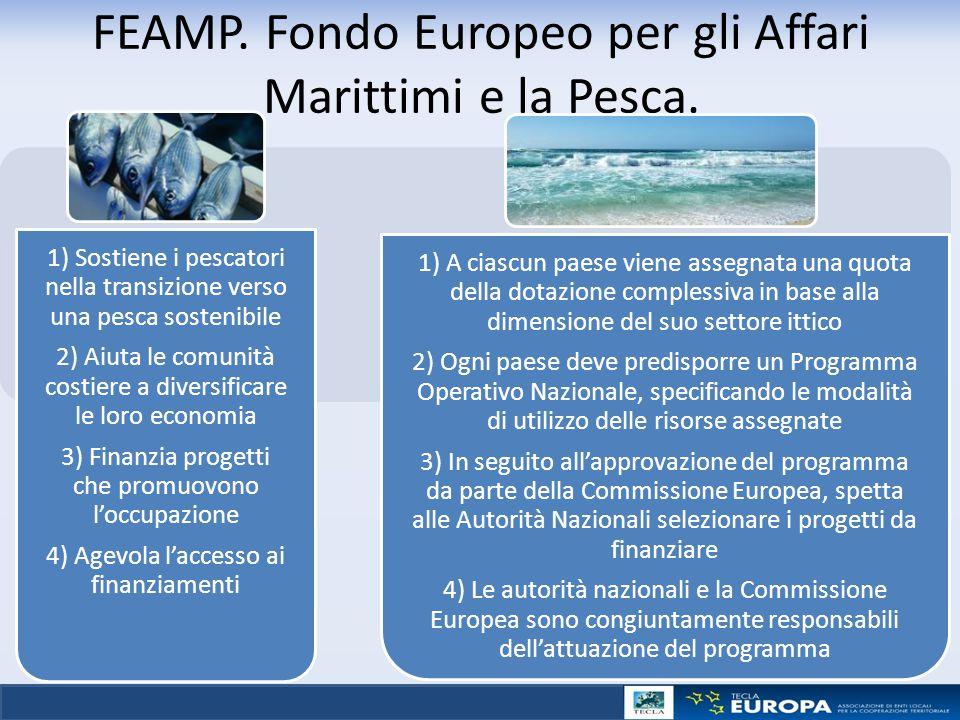 FEAMP. Fondo Europeo per gli Affari Marittimi e la Pesca. 1) Sostiene i pescatori nella transizione verso una pesca sostenibile 2) Aiuta le comunità c