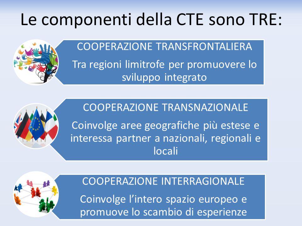 Le componenti della CTE sono TRE: COOPERAZIONE TRANSFRONTALIERA Tra regioni limitrofe per promuovere lo sviluppo integrato COOPERAZIONE TRANSNAZIONALE