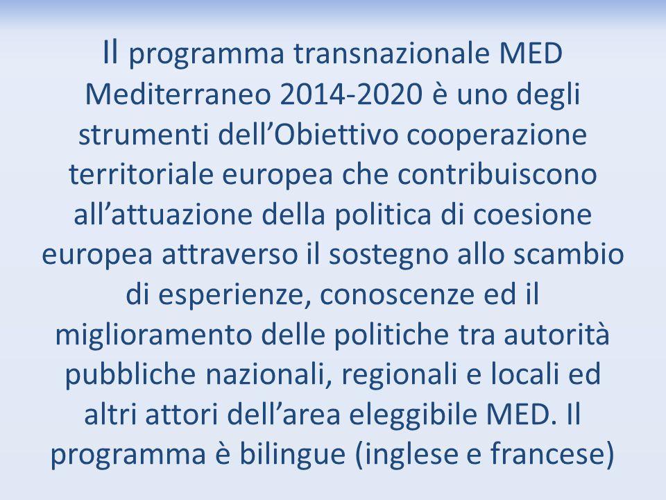 Il programma transnazionale MED Mediterraneo 2014-2020 è uno degli strumenti dell'Obiettivo cooperazione territoriale europea che contribuiscono all'a