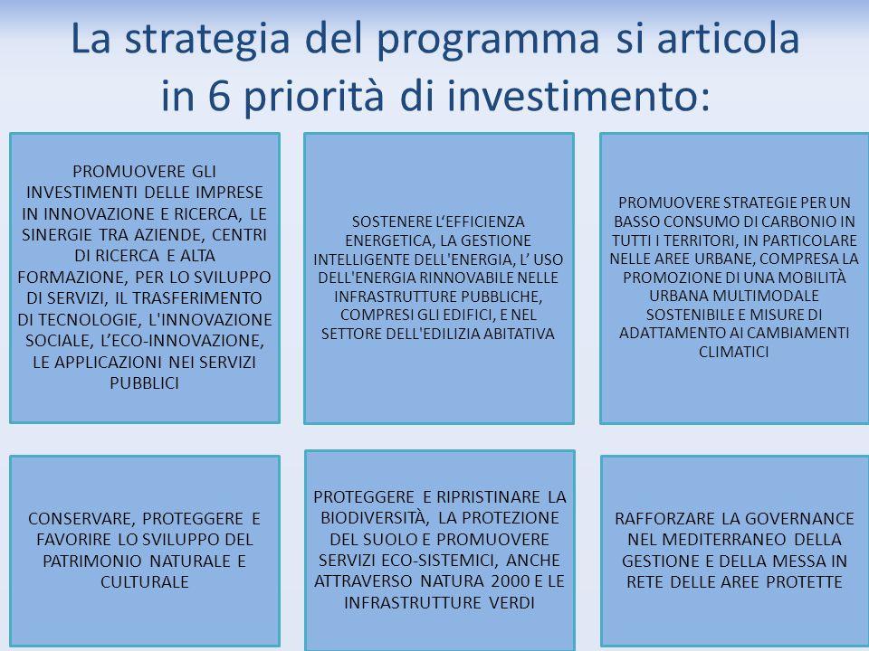 La strategia del programma si articola in 6 priorità di investimento: PROMUOVERE GLI INVESTIMENTI DELLE IMPRESE IN INNOVAZIONE E RICERCA, LE SINERGIE