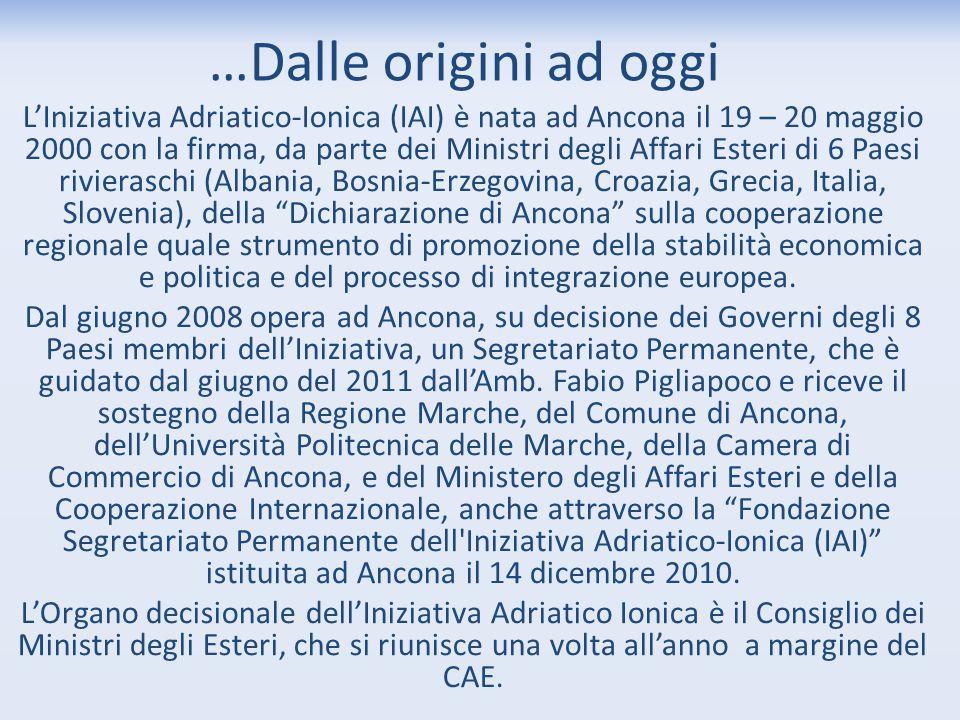 …Dalle origini ad oggi L'Iniziativa Adriatico-Ionica (IAI) è nata ad Ancona il 19 – 20 maggio 2000 con la firma, da parte dei Ministri degli Affari Es