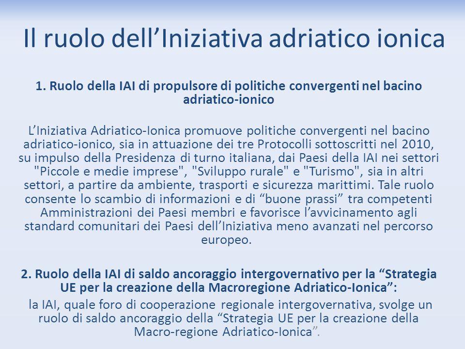 Il ruolo dell'Iniziativa adriatico ionica 1. Ruolo della IAI di propulsore di politiche convergenti nel bacino adriatico-ionico L'Iniziativa Adriatico