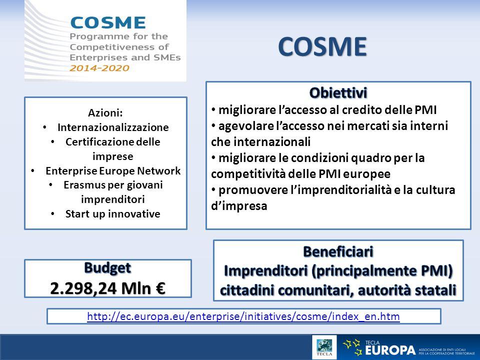 COSME http://ec.europa.eu/enterprise/initiatives/cosme/index_en.htm Azioni: Internazionalizzazione Certificazione delle imprese Enterprise Europe Netw
