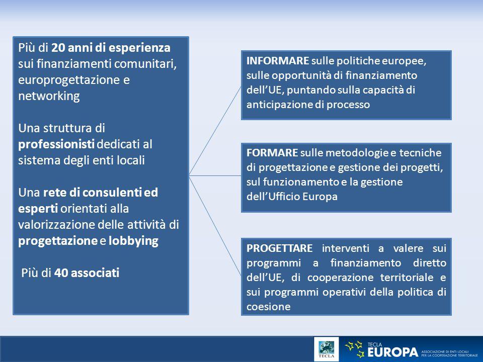 Più di 20 anni di esperienza sui finanziamenti comunitari, europrogettazione e networking Una struttura di professionisti dedicati al sistema degli en