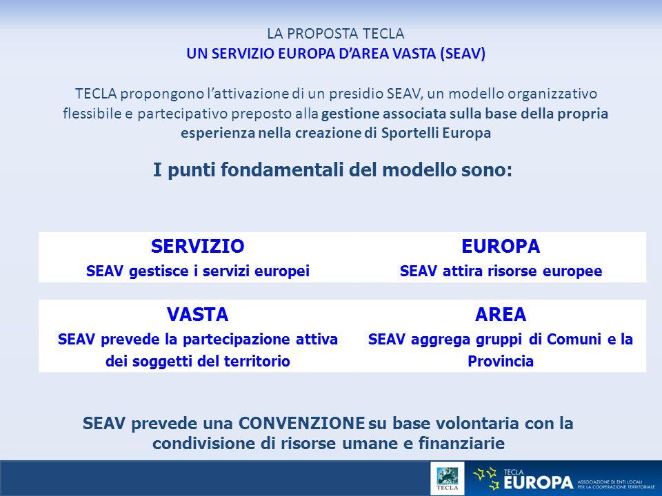 LA PROPOSTA TECLA UN SERVIZIO EUROPA D'AREA VASTA (SEAV) TECLA propongono l'attivazione di un presidio SEAV, un modello organizzativo flessibile e par