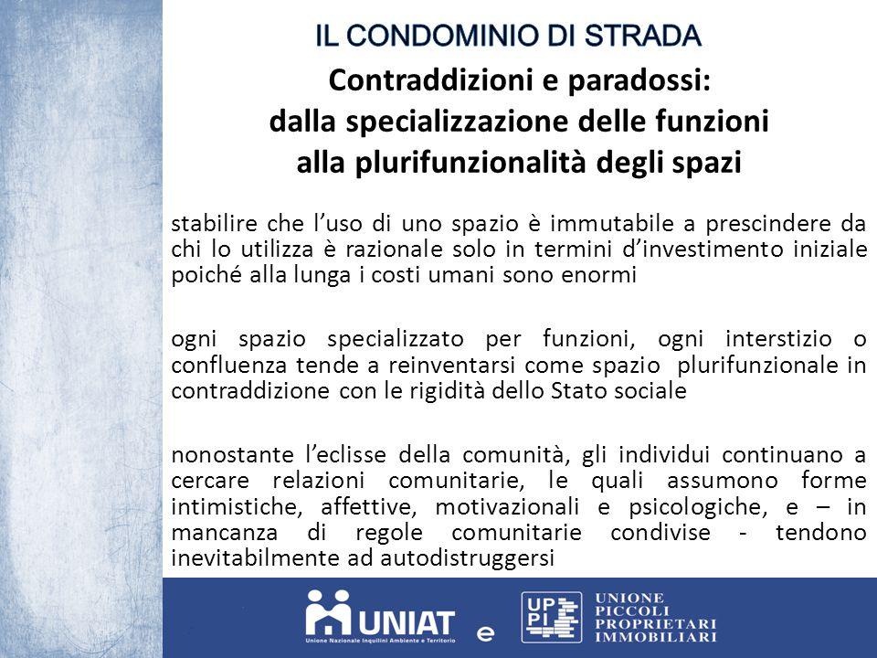 Contraddizioni e paradossi: dalla specializzazione delle funzioni alla plurifunzionalità degli spazi stabilire che l'uso di uno spazio è immutabile a