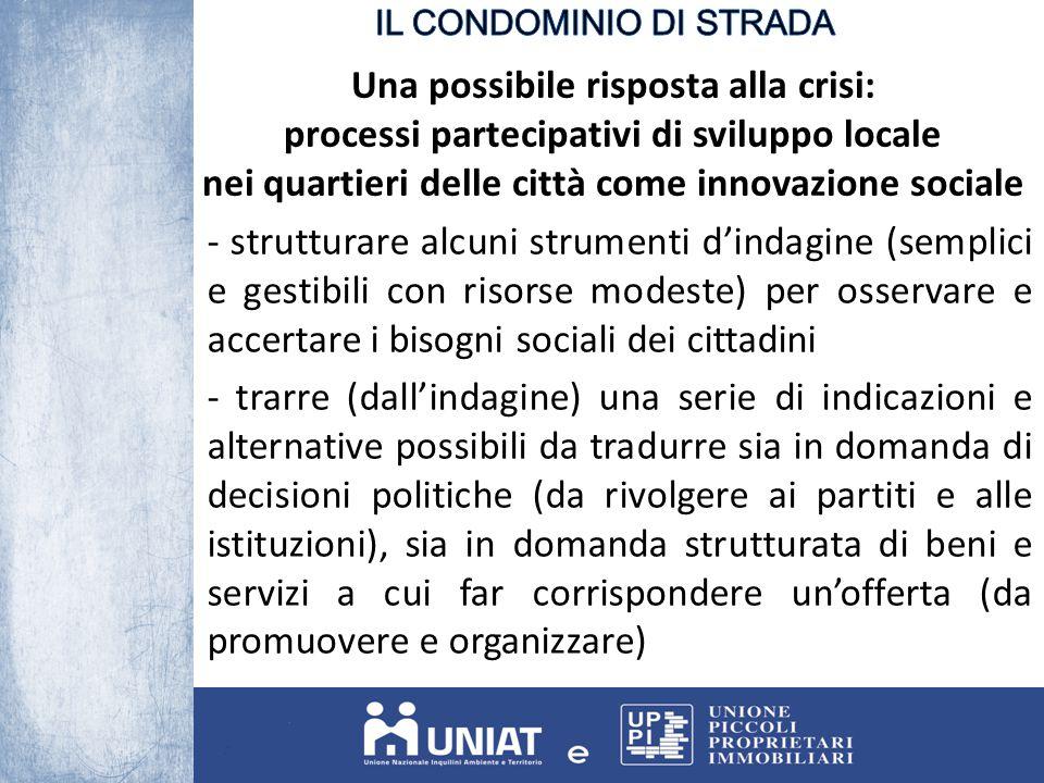 Una possibile risposta alla crisi: processi partecipativi di sviluppo locale nei quartieri delle città come innovazione sociale - strutturare alcuni s