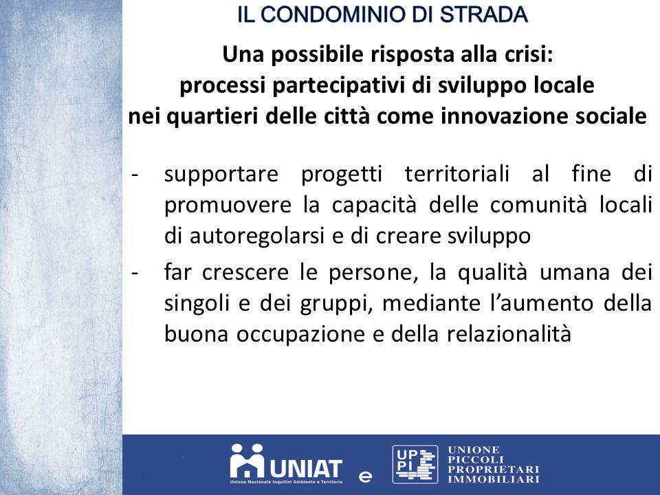 Una possibile risposta alla crisi: processi partecipativi di sviluppo locale nei quartieri delle città come innovazione sociale -supportare progetti t