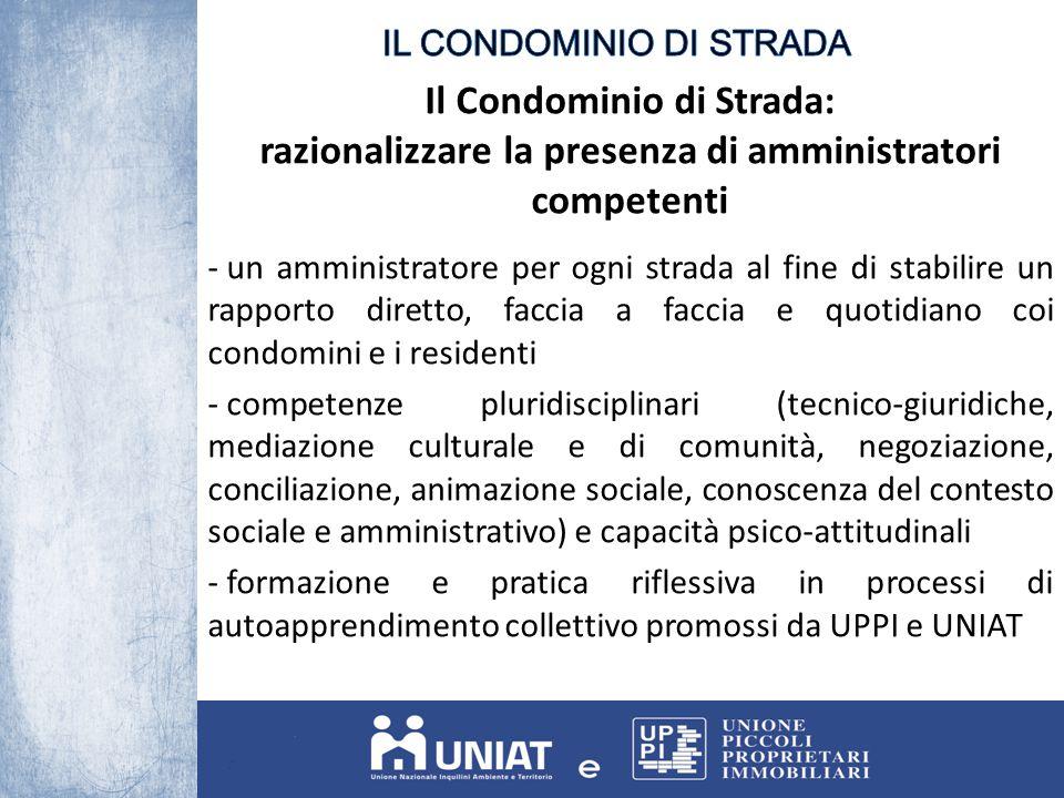 Il Condominio di Strada: razionalizzare la presenza di amministratori competenti - un amministratore per ogni strada al fine di stabilire un rapporto