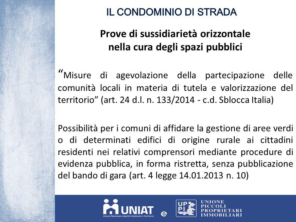 Prove di sussidiarietà orizzontale nella cura degli spazi pubblici Misure di agevolazione della partecipazione delle comunità locali in materia di tutela e valorizzazione del territorio (art.