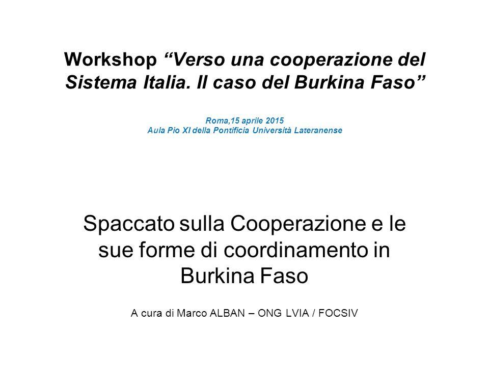 """Workshop """"Verso una cooperazione del Sistema Italia. Il caso del Burkina Faso"""" Roma,15 aprile 2015 Aula Pio XI della Pontificia Università Lateranense"""