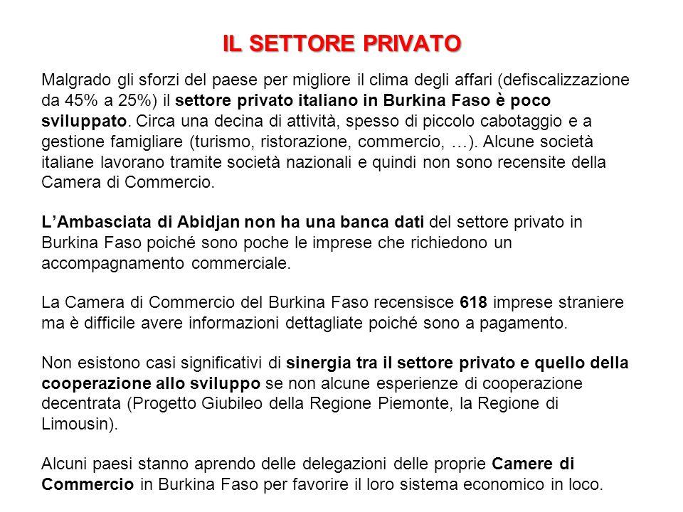 IL SETTORE PRIVATO Malgrado gli sforzi del paese per migliore il clima degli affari (defiscalizzazione da 45% a 25%) il settore privato italiano in Bu