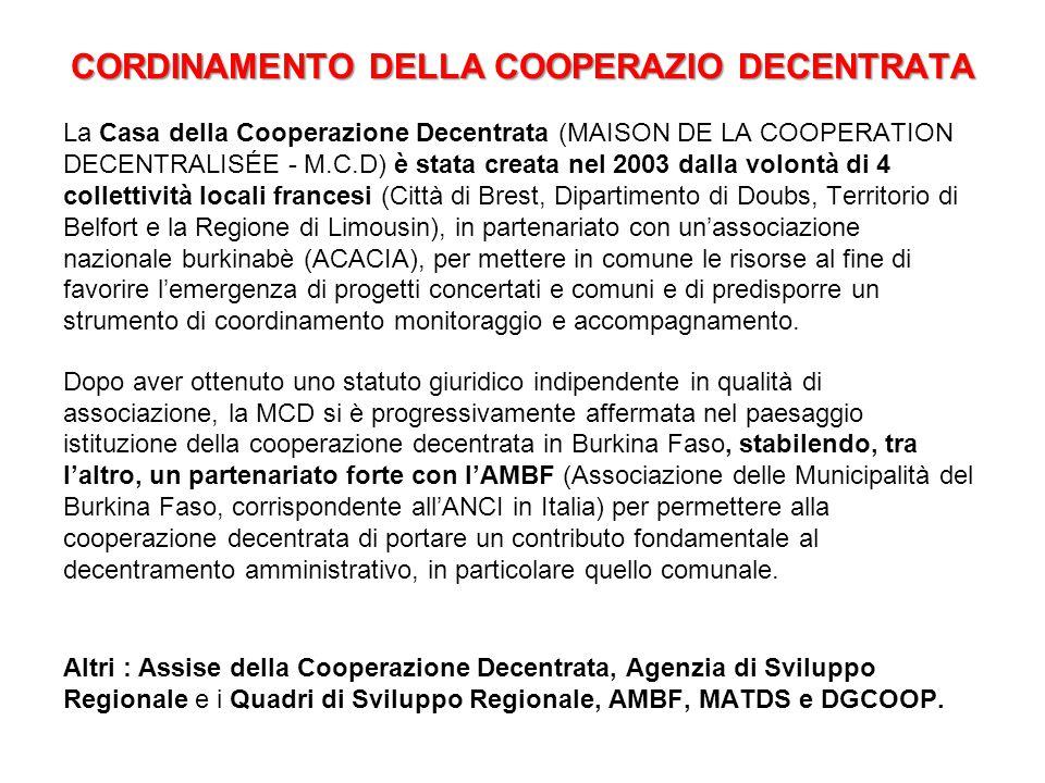 CORDINAMENTO DELLA COOPERAZIO DECENTRATA La Casa della Cooperazione Decentrata (MAISON DE LA COOPERATION DECENTRALISÉE - M.C.D) è stata creata nel 200