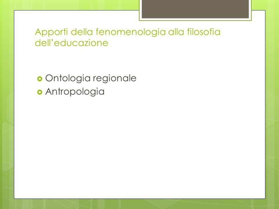 Apporti della fenomenologia alla filosofia dell'educazione  Ontologia regionale  Antropologia