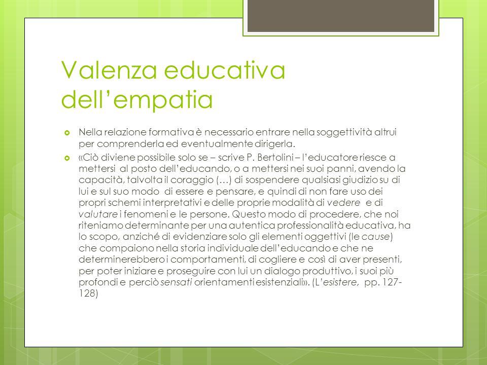 Valenza educativa dell'empatia  Nella relazione formativa è necessario entrare nella soggettività altrui per comprenderla ed eventualmente dirigerla.