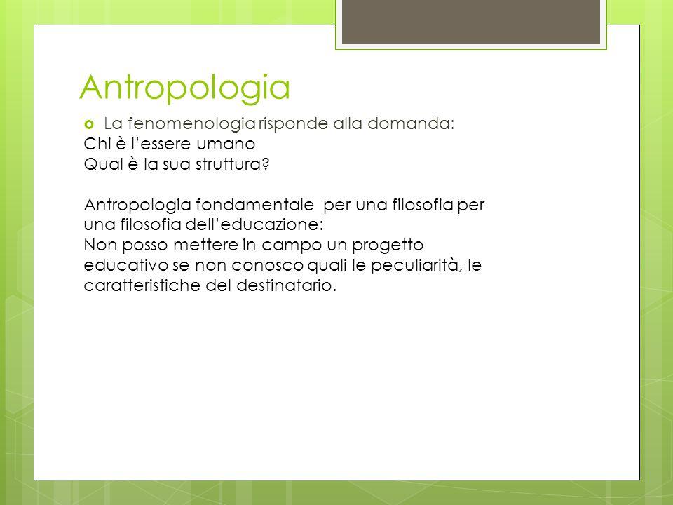 Antropologia  La fenomenologia risponde alla domanda: Chi è l'essere umano Qual è la sua struttura? Antropologia fondamentale per una filosofia per u