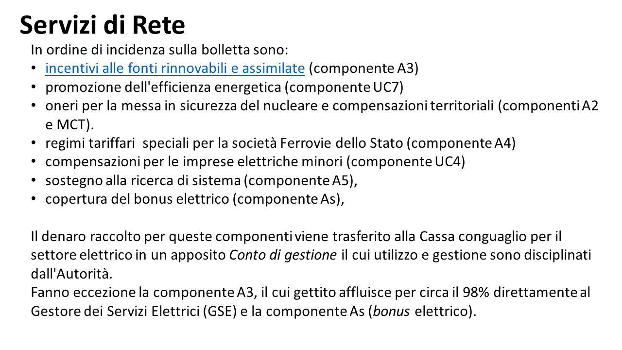 In ordine di incidenza sulla bolletta sono: incentivi alle fonti rinnovabili e assimilate (componente A3) incentivi alle fonti rinnovabili e assimilat