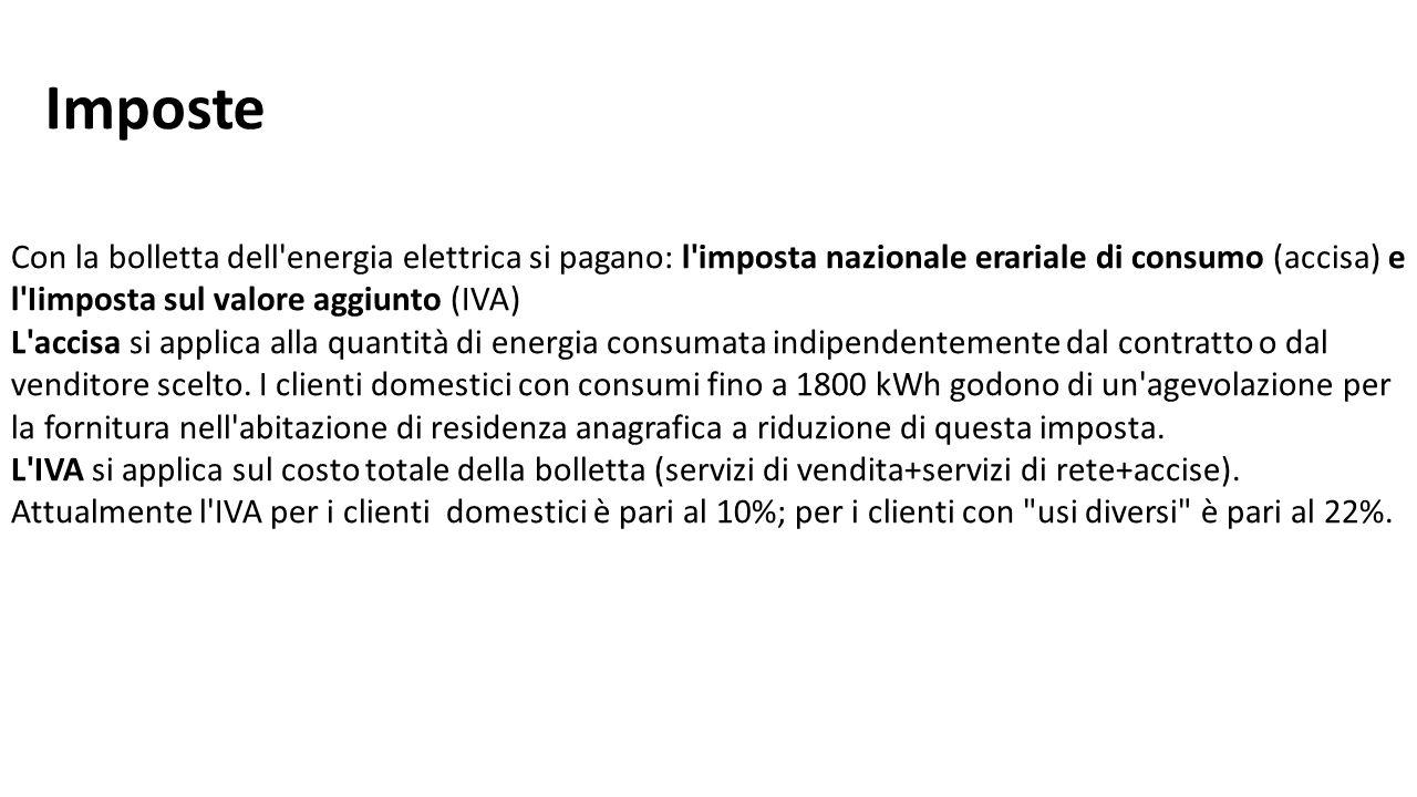 Con la bolletta dell'energia elettrica si pagano: l'imposta nazionale erariale di consumo (accisa) e l'Iimposta sul valore aggiunto (IVA) L'accisa si