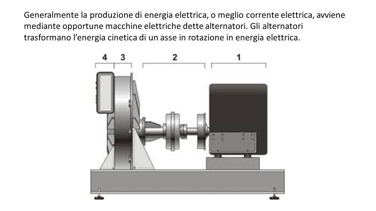 Generalmente la produzione di energia elettrica, o meglio corrente elettrica, avviene mediante opportune macchine elettriche dette alternatori. Gli al