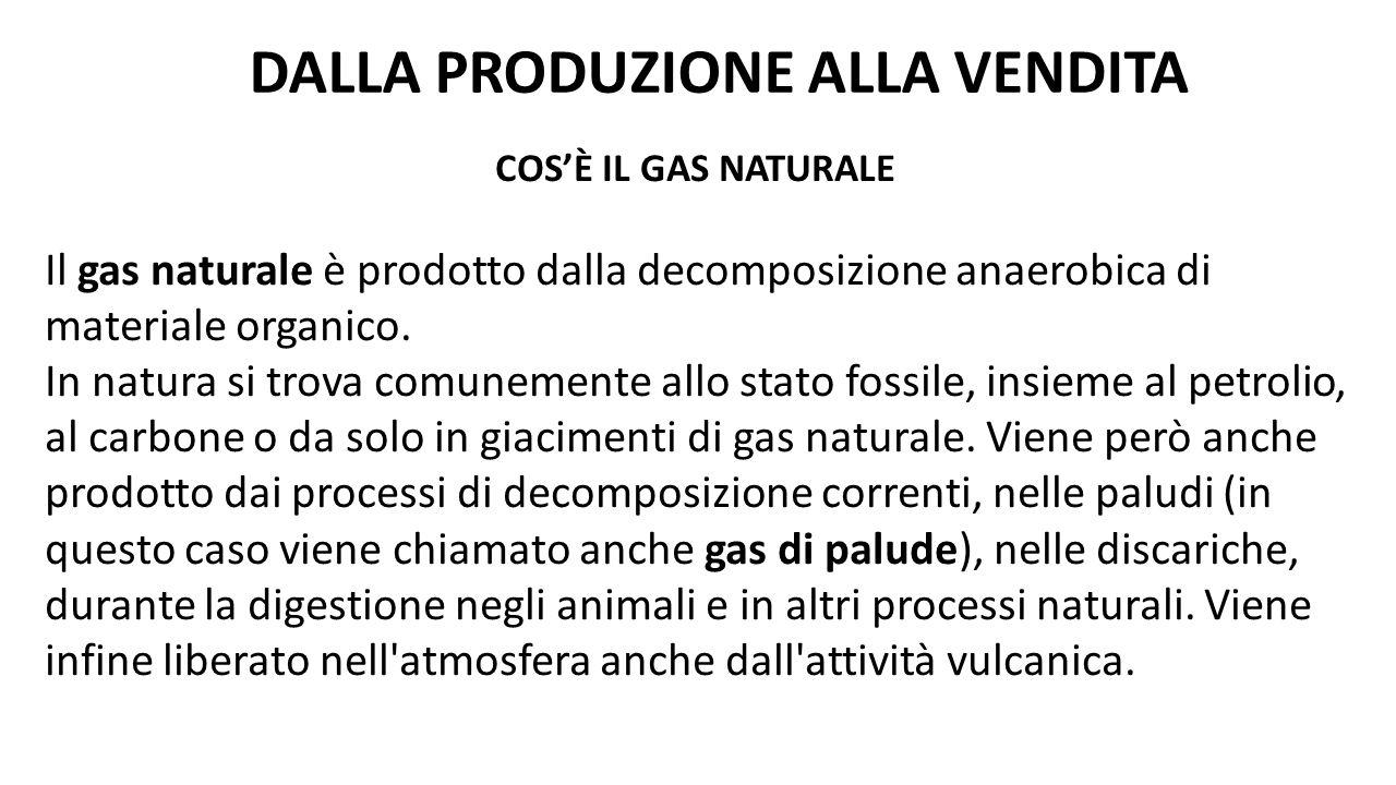 COS'È IL GAS NATURALE Il gas naturale è prodotto dalla decomposizione anaerobica di materiale organico. In natura si trova comunemente allo stato foss