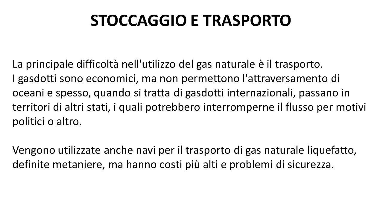 La principale difficoltà nell'utilizzo del gas naturale è il trasporto. I gasdotti sono economici, ma non permettono l'attraversamento di oceani e spe