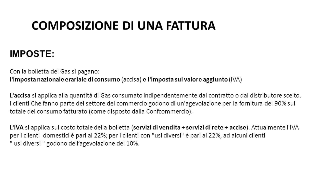 COMPOSIZIONE DI UNA FATTURA IMPOSTE: Con la bolletta del Gas si pagano: l'imposta nazionale erariale di consumo (accisa) e l'imposta sul valore aggiun