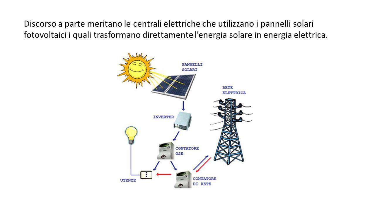 Discorso a parte meritano le centrali elettriche che utilizzano i pannelli solari fotovoltaici i quali trasformano direttamente l'energia solare in en