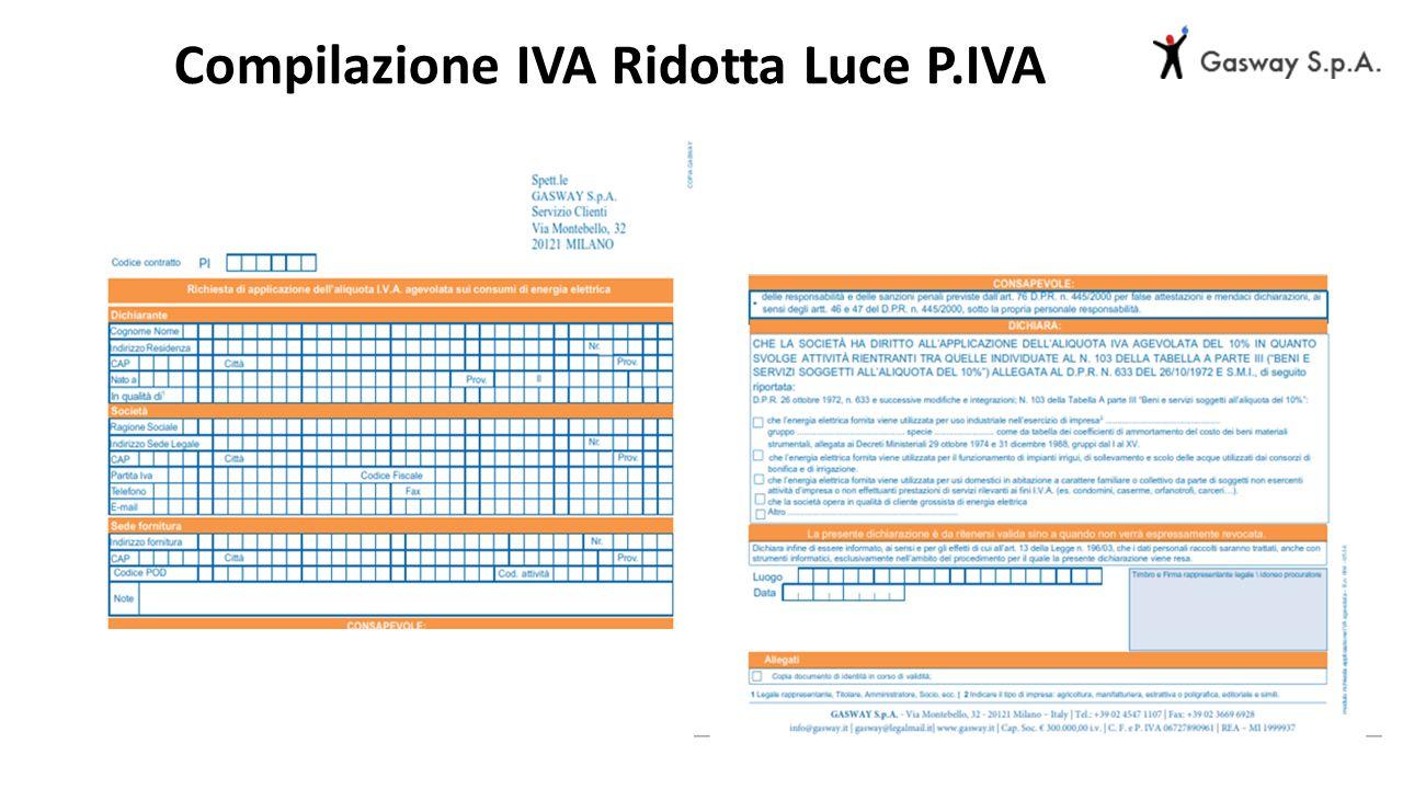 Compilazione IVA Ridotta Luce P.IVA
