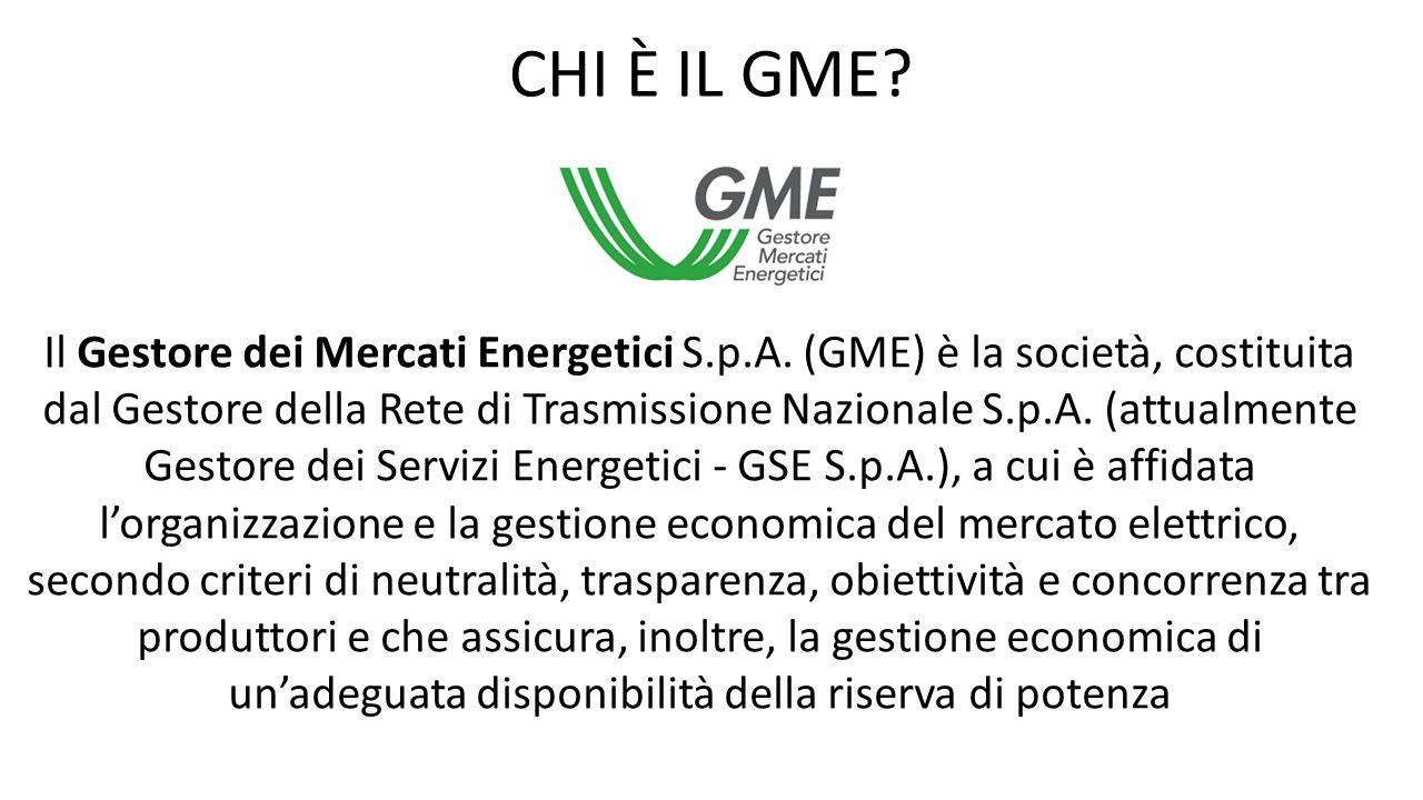 Il Gestore dei Mercati Energetici S.p.A. (GME) è la società, costituita dal Gestore della Rete di Trasmissione Nazionale S.p.A. (attualmente Gestore d