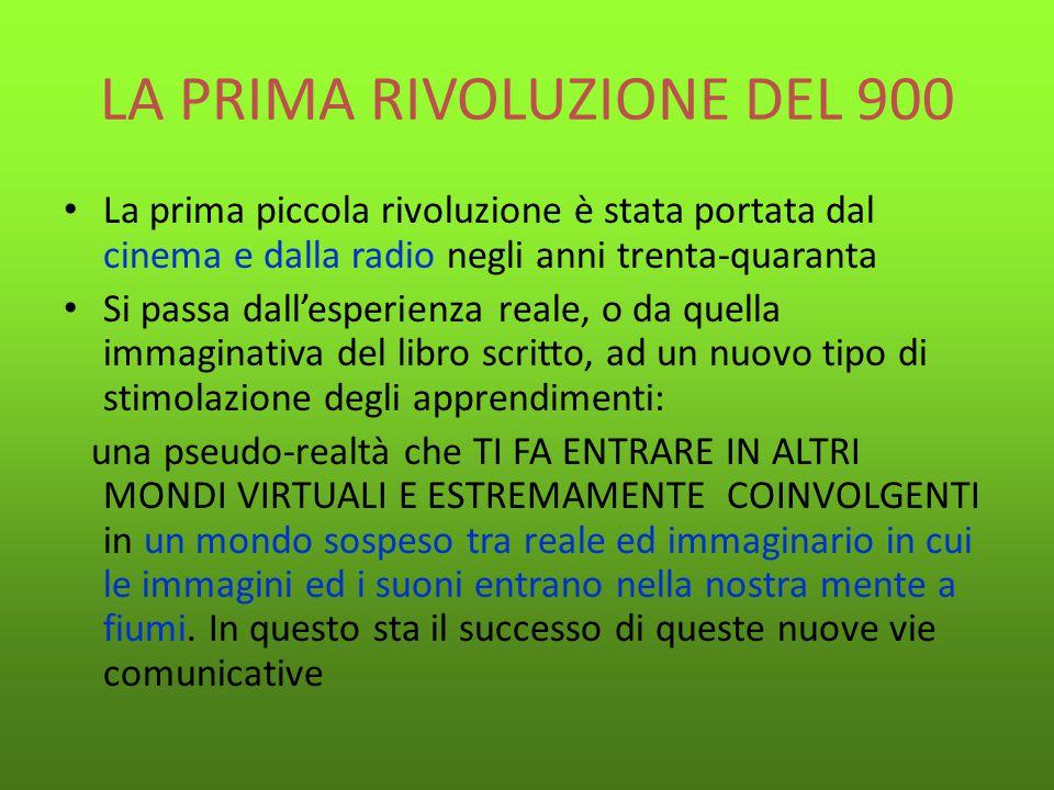 LA PRIMA RIVOLUZIONE DEL 900 La prima piccola rivoluzione è stata portata dal cinema e dalla radio negli anni trenta-quaranta Si passa dall'esperienza