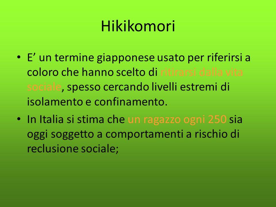 Hikikomori E' un termine giapponese usato per riferirsi a coloro che hanno scelto di ritirarsi dalla vita sociale, spesso cercando livelli estremi di