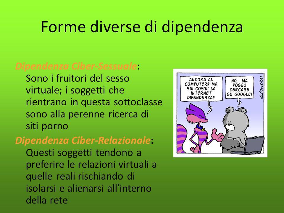 Forme diverse di dipendenza Dipendenza Ciber-Sessuale: Sono i fruitori del sesso virtuale; i soggetti che rientrano in questa sottoclasse sono alla pe