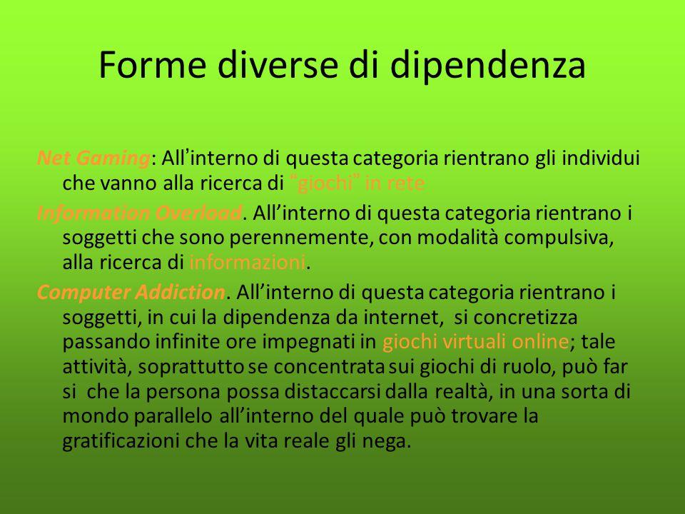 """Forme diverse di dipendenza Net Gaming: All ' interno di questa categoria rientrano gli individui che vanno alla ricerca di """" giochi """" in rete Informa"""