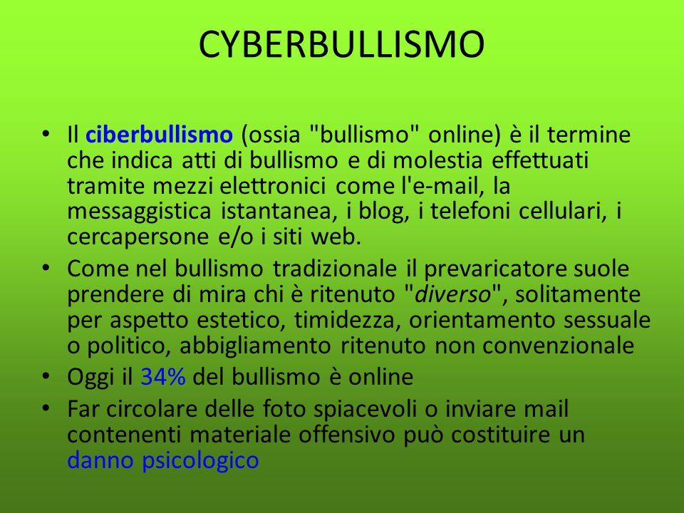 CYBERBULLISMO Il ciberbullismo (ossia