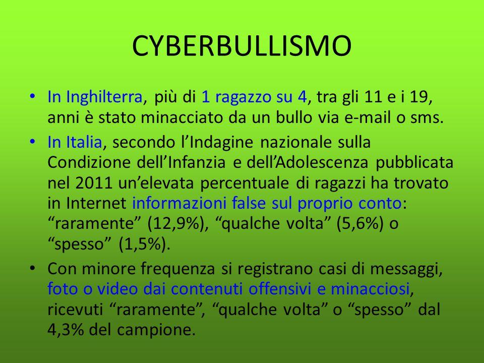CYBERBULLISMO In Inghilterra, più di 1 ragazzo su 4, tra gli 11 e i 19, anni è stato minacciato da un bullo via e-mail o sms. In Italia, secondo l'Ind