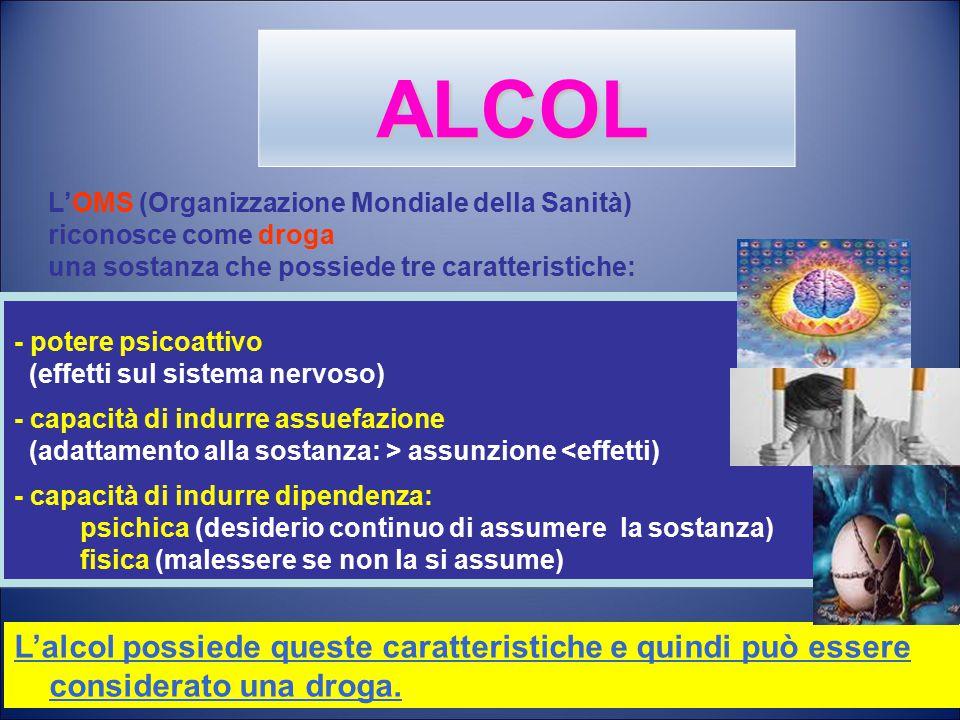 L'OMS (Organizzazione Mondiale della Sanità) riconosce come droga una sostanza che possiede tre caratteristiche: L'alcol possiede queste caratteristiche e quindi può essere considerato una droga.