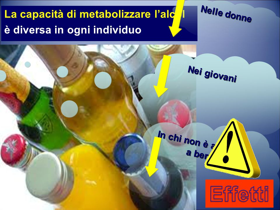 La capacità di metabolizzare l'alcol è diversa in ogni individuo Nei giovani In chi non è abituato a bere Nelle donne
