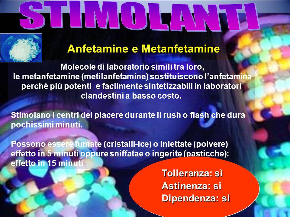 Molecole di laboratorio simili tra loro, le metanfetamine (metilanfetamine) sostituiscono l'anfetamina perchè più potenti e facilmente sintetizzabili in laboratori clandestini a basso costo.