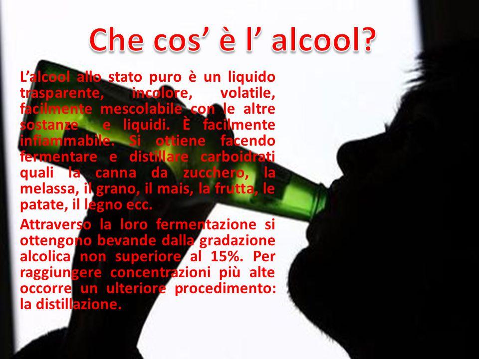 L'alcool allo stato puro è un liquido trasparente, incolore, volatile, facilmente mescolabile con le altre sostanze e liquidi.