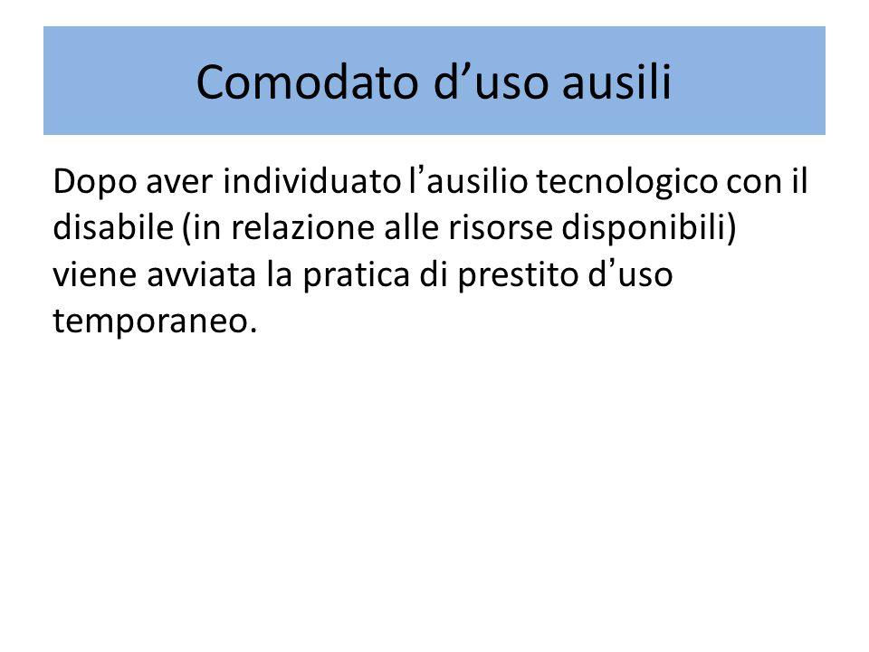 Comodato d'uso ausili Dopo aver individuato l'ausilio tecnologico con il disabile (in relazione alle risorse disponibili) viene avviata la pratica di prestito d'uso temporaneo.