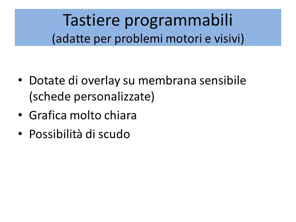 Tastiere programmabili (adatte per problemi motori e visivi) Dotate di overlay su membrana sensibile (schede personalizzate) Grafica molto chiara Possibilità di scudo