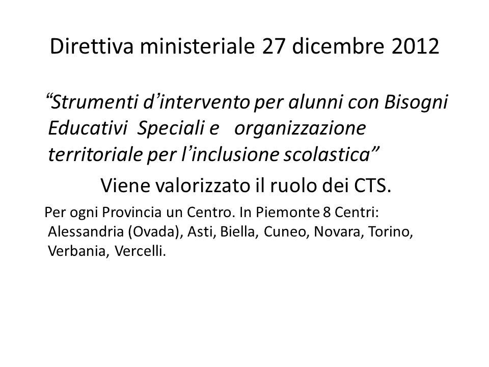 Direttiva ministeriale 27 dicembre 2012 Strumenti d'intervento per alunni con Bisogni Educativi Speciali e organizzazione territoriale per l'inclusione scolastica Viene valorizzato il ruolo dei CTS.