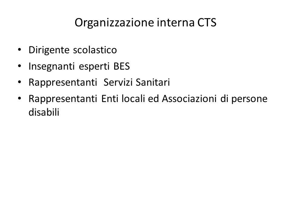 Organizzazione interna CTS Dirigente scolastico Insegnanti esperti BES Rappresentanti Servizi Sanitari Rappresentanti Enti locali ed Associazioni di persone disabili