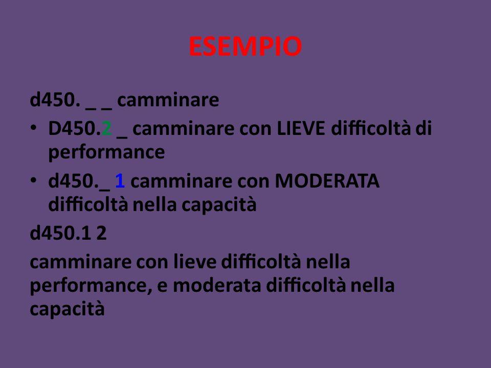 ESEMPIO d450. _ _ camminare D450.2 _ camminare con LIEVE difficoltà di performance d450._ 1 camminare con MODERATA difficoltà nella capacità d450.1
