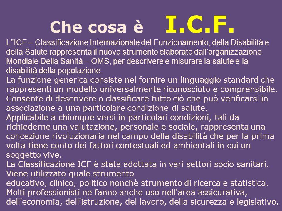 Che cosa è I.C.F. L''ICF – Classificazione Internazionale del Funzionamento, della Disabilità e della Salute rappresenta il nuovo strumento elaborato