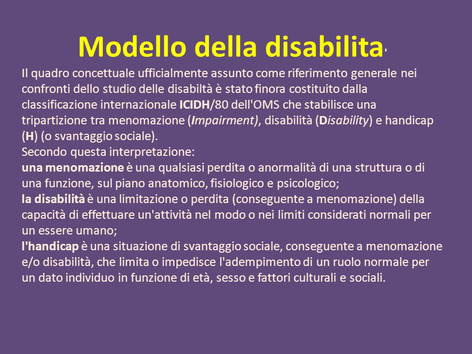 Modello della disabilita ' Il quadro concettuale ufficialmente assunto come riferimento generale nei confronti dello studio delle disabiltà è stato fi