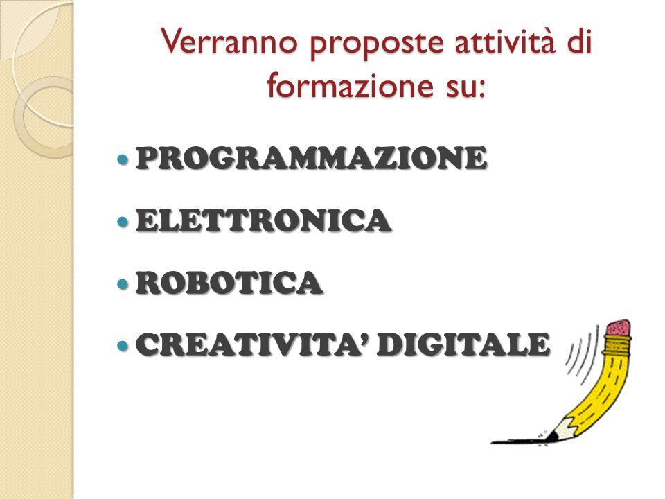 Verranno proposte attività di formazione su: PROGRAMMAZIONE PROGRAMMAZIONE ELETTRONICA ELETTRONICA ROBOTICA ROBOTICA CREATIVITA' DIGITALE CREATIVITA'